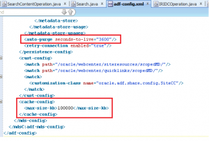 adf-config.xml with MDS caching and auto-purging