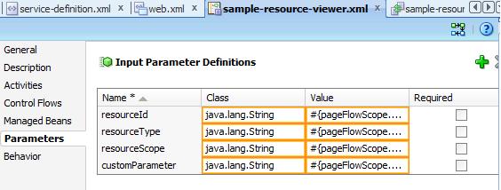 Resource Viewer Input Parameters